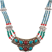Turquoise Necklace, Red Stone, Nepal Jewelry, Vintage Necklace, Beaded Multi Strand, Tibetan Silver, Boho Bohemian, Tribal Ethnic, Gypsy