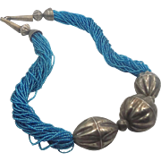 Boho Necklace, Big Statement, Vintage Jewelry, Oversized Silver, Tribal Ethnic, NOS, Turquoise Glass, 1970s Boho, Gypsy Jewelry, Bohemian