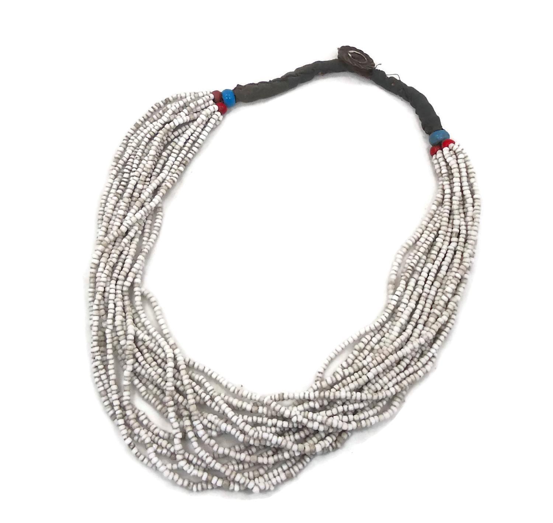 Torsade Necklace: Old Afghan Beaded Glass Torsade Necklace