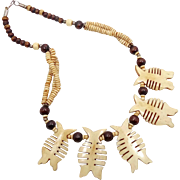 Wood Necklace, Carved Bone, Fish, Boho Statement, Beaded Necklace, Vintage Jewelry, Bohemian Gypsy, Ethnic Tribal, Abstract, Brown Natural