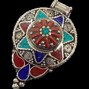 Turquoise Pendant, Blue Lapis Lazuli, Coral Stone, Nepal Jewelry, Vintage Pendant, Tibetan Silver, Boho Bohemian, Tribal Ethnic, Gypsy