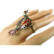 Bird Ring, Ethnic Ring, Kuchi Vintage Ring, Red Enameled, Turkmen Afghan, Statement Ring, Size 7, Boho Bohemian, Gypsy, Unique Unusual