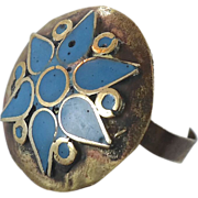 Blue Enameled Gypsy Ring - Afghan Ethnic Bedouin - Size 8.5 - InVintageHeaven