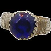 Vintage Cobalt Blue Glass Kuchi Ring - Antique Afghan Ethnic - Size 7 - InVintageHeaven
