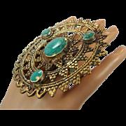 Huge Ring, Brass Ring, Green Ring, Kuchi Ring, Vintage Ring, Statement Ring, Afghan, Ethnic Turkish, Two Finger, Unisex, Mens Mans