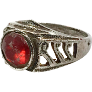 Afghan Ring, Red Glass Ring, Kuchi Ring, Mans Mens, Vintage Jewelry, Old Ethnic, Gypsy Tribal, Size 8, Statement Ring, Unisex Turkoman