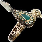 Bird Ring, Ethnic Ring, Kuchi Vintage Ring, Green Enameled, Turkmen Afghan, Statement Ring, Size 6 1/2, Boho Bohemian, Gypsy, Unique