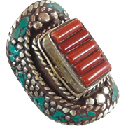 Boho Ring, Turquoise Ring, Red Coral, Nepal Jewelry, Statement Ring, Tibetan Silver, Tibet Ring, Boho Bohemian, Size 9, Tribal Ethnic, Gypsy