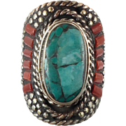 Nepal Ring, Statement Ring, Boho Ring, Turquoise Jewelry, Red Coral, Tibetan Silver, Size 9, Big Wide, Tribal Ethnic, Gypsy, Inlaid Inlay