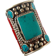 Turquoise Ring, Nepal Jewelry, Statement Ring, Tibetan Silver, Boho Bohemian, Tribal Ethnic, Gypsy, Size 9, Wide Ring, Mens Mans, Unisex Red