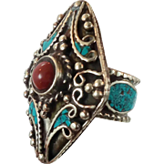 Turquoise Ring, Red Carnelian Stone, Statement Ring, Nepal Jewelry, Size 8 1/2, Tibetan Silver, Boho Bohemian, Tribal Ethnic, Gypsy Big Wide