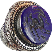Blue Lapis Ring, Turkish Kuchi, Vintage Afghan, Carved Antelope, Ethnic Tribal, Big Statement, Boho Bohemian, Signet, Unisex Mens Mans, 8
