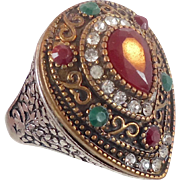 Turkish Ring, Brass, Vintage Ring, Ottoman, Glass Ruby Emerald, Boho Statement, Ethnic Tribal, Size 10 1/2, Red Green, Cubic Zirconia