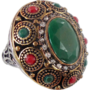 Turkey Ring, Brass Silver, Vintage Ring, Ottoman, Glass Ruby Emerald, Boho Statement, Size 8 1/2, Ethnic Tribal, Red Green, CZs, Big