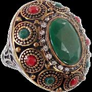 Turkey Ring, Brass Silver, Vintage Ring, Ottoman, Glass Ruby Emerald, Boho Statement, Size 8 1/2, Ethnic Tribal, Red Green, CZs, Big