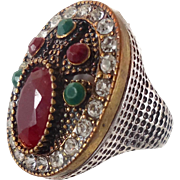 Turkish Ring, Brass, Vintage Ring, Ottoman, Size 7, Glass Ruby Emerald, Boho Statement, Ethnic Tribal, Red Green, Cubic Zirconia, CZ