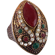 Turkey Ring , Brass Silver, Vintage Ring, Ottoman, Glass Ruby Emerald, Boho Statement, Size 9 1/2, Ethnic Tribal, Red Green, CZs, Big