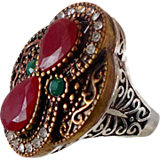 Turkey Ring , Brass Silver, Vintage Ring, Ottoman, Glass Ruby Emerald, Boho Statement, Size 10 1/2, Ethnic Tribal, Red Green, CZs, Big