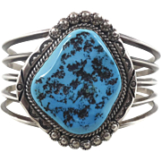 Turquoise Cuff, Sterling Silver, Vintage Bracelet, Native American, Navajo, Signed, Heavy Silver, Big Stone, Boho Statement, Wide Large