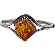 Amber Bracelet, Sterling Silver, Hinged Bangle, Vintage Bracelet, Contemporary, Honey Amber, Heavy Silver, Big Statement, Minimalist, Modern