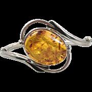 Amber Bracelet, Baltic Honey Amber, Sterling Silver, Hinged Bangle, Vintage Bracelet, Contemporary, Big Statement, Modern, Calla Lily
