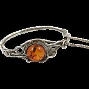 Amber Bracelet, Sterling Silver, Hinged Bangle, Vintage Bracelet, Baltic Honey Amber, Contemporary, Minimalist, Modern, Vintage Jewelry