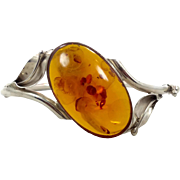 Amber Bracelet, Vintage Bangle, Sterling Silver, Honey, Baltic Amber Cuff, Calla Lily, Big Statement, Unique, Boho, Art Nouveau Inspired