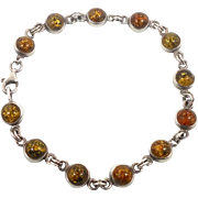 Amber Bracelet, Honey Amber, Sterling Silver, Vintage Bracelet, Links Linked, Vintage Jewelry, 925, Round Stones, Amber Linked, Vintage