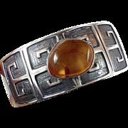 Amber Bracelet, Vintage Bracelet, Sterling Silver, Modern Cuff, Big Statement, Unique, Boho Bohemian, Ethnic Tribal, Unisex Mens Mans