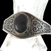 Black Lava Stone Sterling Silver Cuff Bracelet - Vintage Ethnic Unique & Big - InVintageHeaven