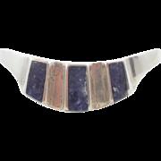 Blue Sodalite Cuff, Blue Stone, Sterling Silver, Cuff Bracelet, Vintage Bracelet, Heavy 925, Mexico Taxco, Statement, Boho Bohemian, Ethnic