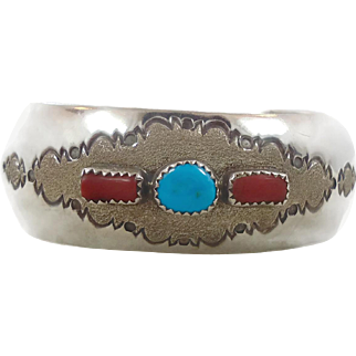 Turquoise Bracelet, Sterling Silver, Vintage Cuff, Signed, Native American, Red Coral, Southwestern, Vintage Jewelry, Boho Bohemian, Unique