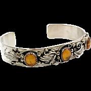 Amber Bracelet, Sterling Silver, Cuff Bracelet, Vintage Bracelet, Baltic Amber, Honey Amber, Ornate Cuff, Stacking Cuff, Vintage Jewelry