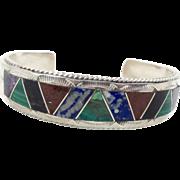 Stone Inlaid Bracelet, Sterling Silver, Taxco Mexico, Chrysocolla, Sodalite, Onyx, Jasper, Amethyst, Heavy Malachite, Green, Turquoise