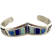 Lapis Cuff, Sterling Silver, Opal Cuff, Vintage Bracelet, Inlay Inlaid, Native American, Signed, Heavy 925, Boho Statement, Vintage