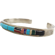 Turquoise Bracelet, Sterling Silver, Vintage Cuff, Zuni, Native American, Signed, CS Lonjose, Red Coral, Malachite, Black Onyx, Stacking