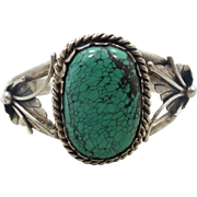 Turquoise Cuff, Sterling Silver, Cuff Bracelet, Vintage, Quality, Heavy, Native American, Large Stone, Detailed, Unisex Mens Mans, Boho