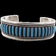 Turquoise Cuff, Sterling Silver, Vintage Bracelet, Navajo, Signed Begay, Needlepoint, Quality, Southwestern, Boho Statement, Native American
