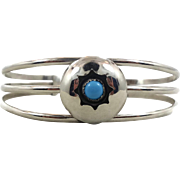 Turquoise Bracelet, Vintage Bracelet, Shadowbox Setting, Sterling Silver, Cuff Bracelet, Native American, Boho Jewelry, Southwestern