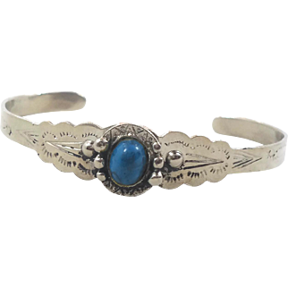 Turquoise Bracelet, Sterling Silver, Cuff Bracelet, Vintage Bracelet, 1970s, Small Wrist, Boho Statement, Bohemian, Ethnic, Stacking