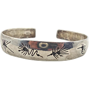 Sterling Silver Cuff, Abstract Symbols, Unique Studio, Vintage Bracelet, 950 Silver, Modern Minimalist, Stacking, Handcrafted, Odd Unusual