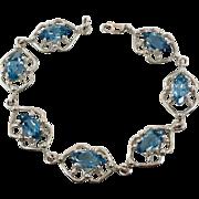 Blue Bracelet, Sterling Silver, Vintage Bracelet, Faceted Blue, Faux Topaz, Links Linked, Ornate, Vintage Jewelry, Tennis 925, Big