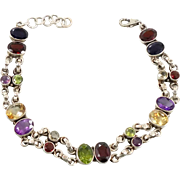 Gemstone Bracelet, Multi Stones, Peridot Citrine, Garnet Amethyst, Sterling Silver, Vintage Bracelet, Mixed Stones, Red Green, Purple