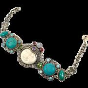 Goddess Bracelet, Moonstone, Larimar, Turquoise, Carved Face, Sterling Silver, Moon, Bali Indonesia, Vintage Bracelet, Bohemian, Boho