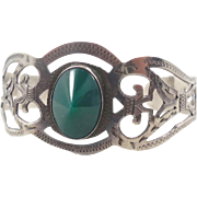 Mexico Green Onyx Sterling Silver Cuff Bracelet - Vintage Small Wrist - InVintageHeaven