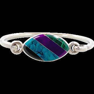 Stone Bracelet, Sterling Silver, Turquoise, Malachite, Onyx, Vintage Cuff, Sugalite, Hinged Bangle, Mexico, Inlay, Boho Statement, Bohemian