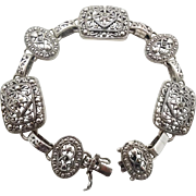Sterling Silver, Vintage Bracelet, Linked Links, Ornate, Thailand, Big Statement, Detailed, Boho Bohemian, Ethnic Tribal, Filagree