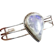 Moonstone Cuff, Sterling Silver, Vintage Bracelet, Large Stone, Big Statement, White Moonstone, Boho Bohemian, Ethnic Tribal, Stack Layer