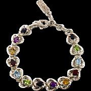 Gemstone Bracelet, Heart Multi, Peridot Citrine, Garnet Amethyst, Blue Topaz, Sapphire, Sterling Silver, Vintage Bracelet, Mixed Stone