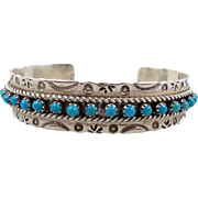 Turquoise Cuff, Sterling Silver, Vintage Bracelet, Zuni, Snake Eye Stones, Signed, Native American, Chased Stamped, Southwestern, Boho